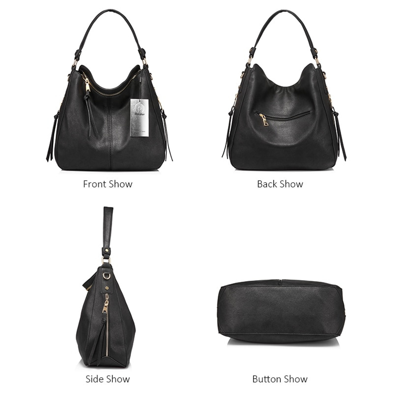 Womens Large Top-Handle Handbag //Ladies Tote Shopper Hobo With Big Button Detail