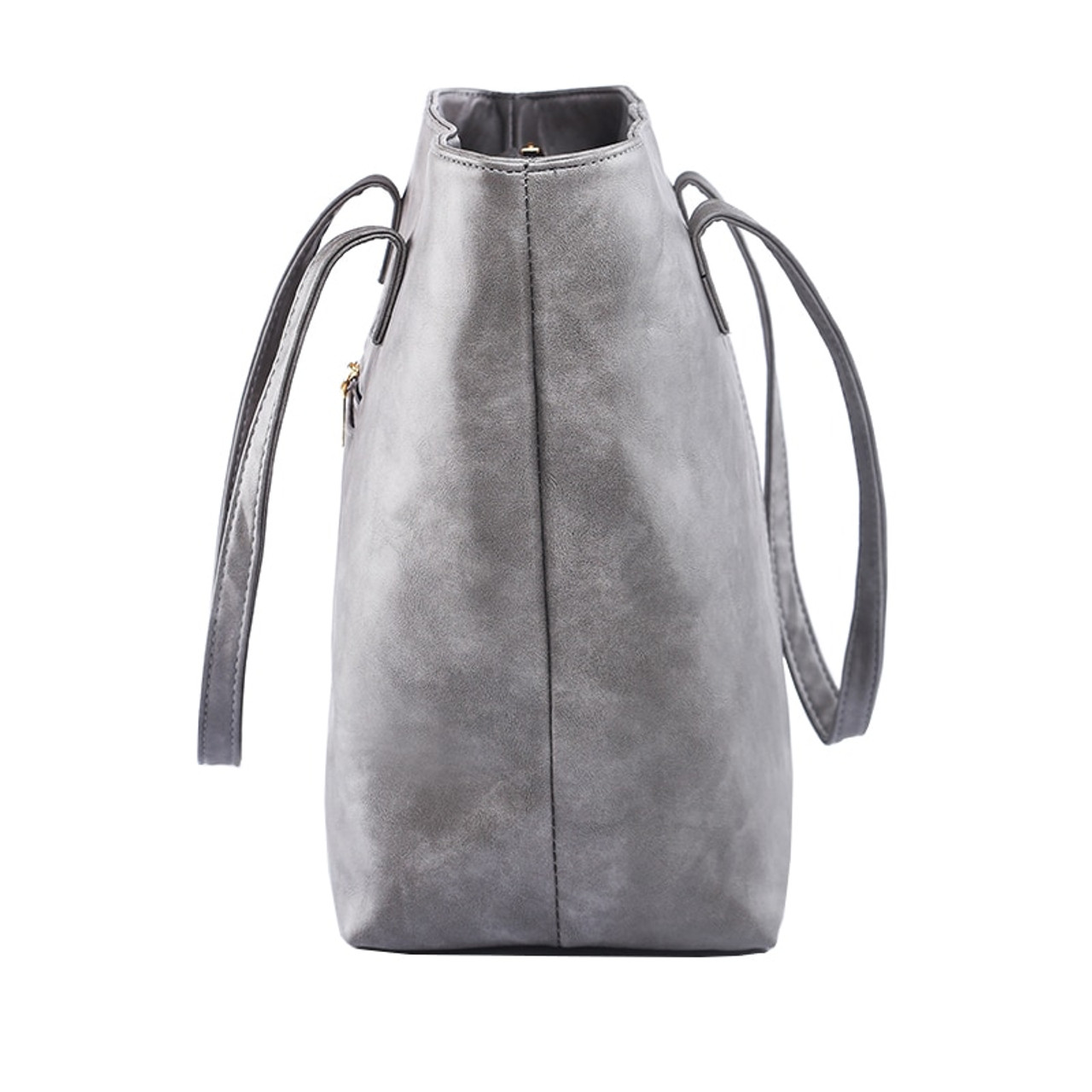 570442a9a1 ... All Match Fashion Leather Handbag Simple Style Shoulder Bags for Women  Gray  Black Large Capacity ...