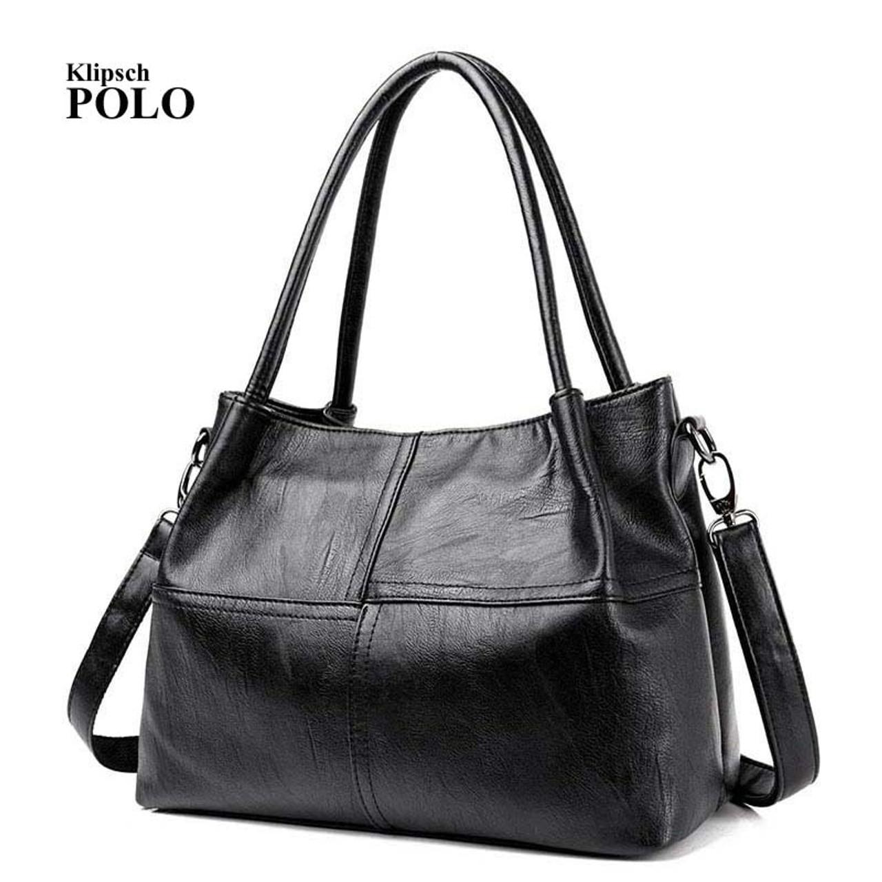 a29cf9d7c351 Fashion Ladies Hand Bag Women s Genuine Leather Handbag Black Leather Tote  Bag Bolsas femininas Female Shoulder ...