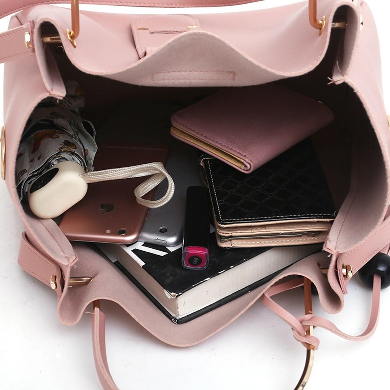 d7fe8d5d55 ... 3Pcs/Sets Women Handbags Leather Shoulder Bags Female Large Capacity  Casual Tote Bag Tassel Bucket ...