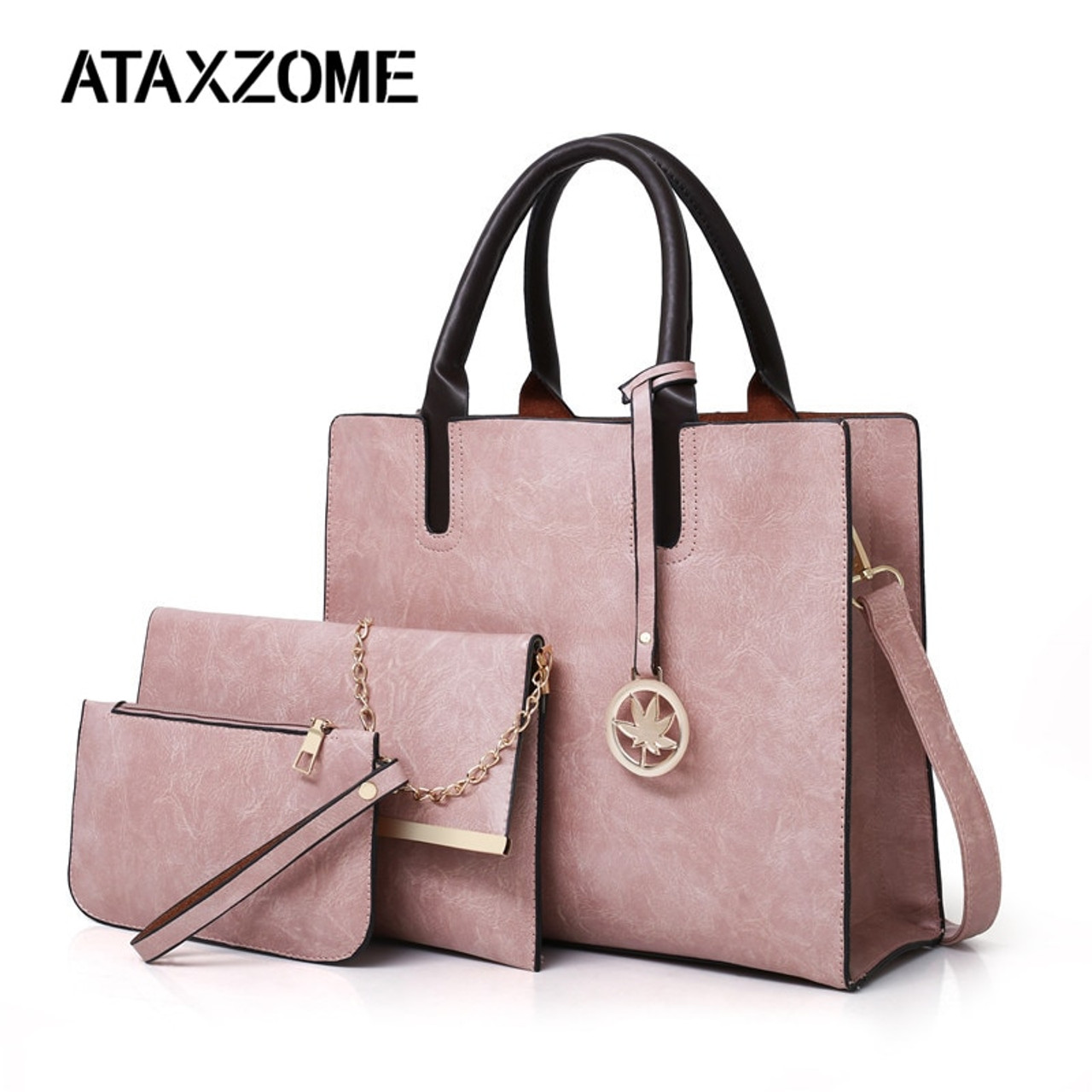 43beed2a516d ATAXZOME 3Pcs Set Composite women Tote Shoulder bags Large luxury handbags  designer famous brand PU ...