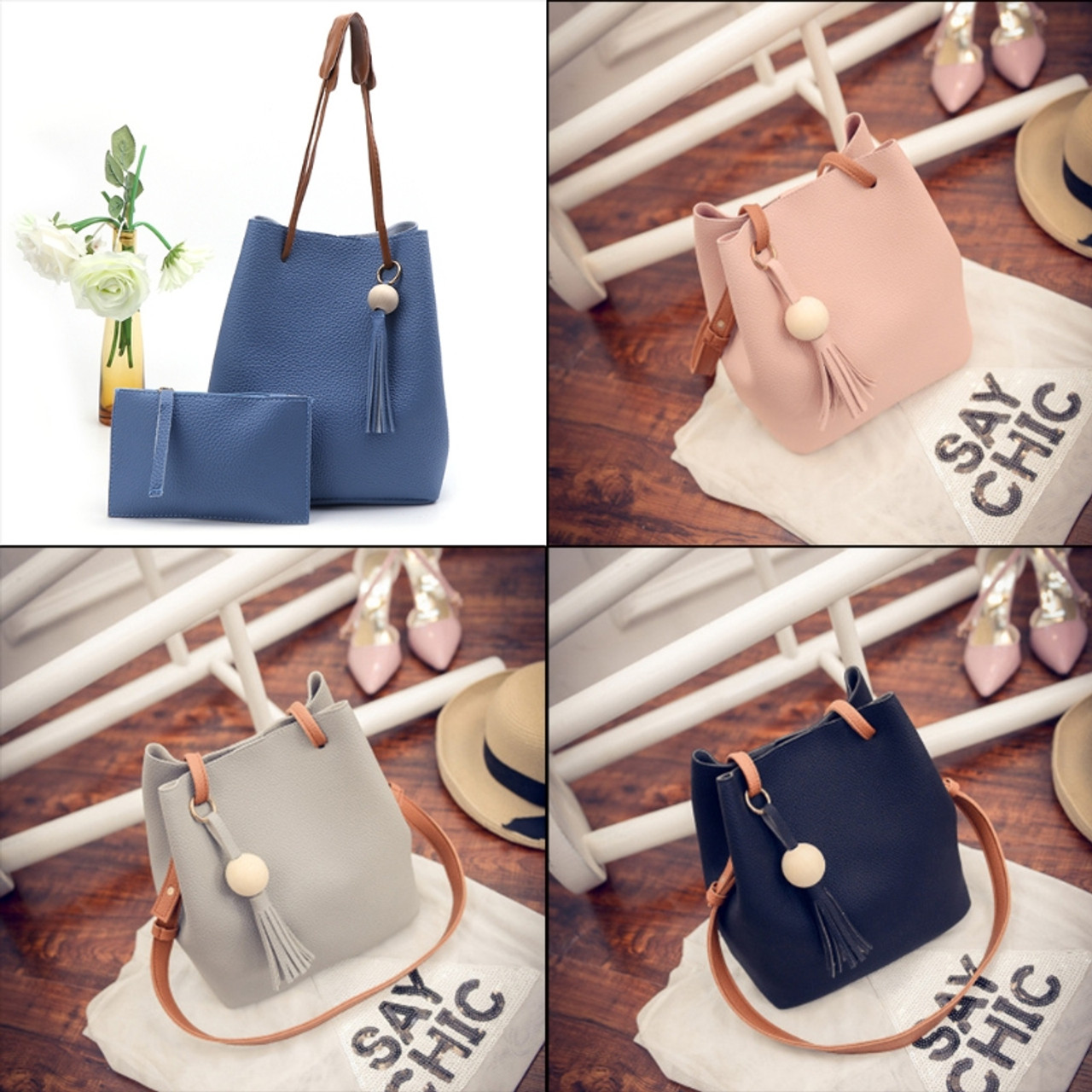 96b89ab833cc ... THINKTHENDO New 2pcs Women Leather Handbag Fashion Crossbody Bags  Shoulder Bag Tote Small Purse Messenger Clutch ...