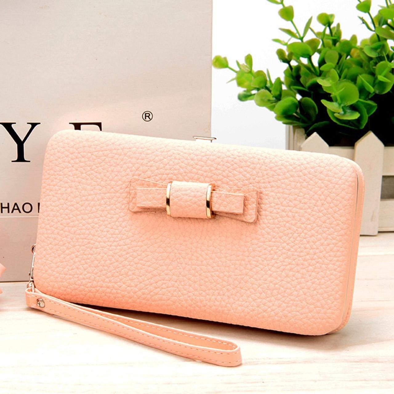 Women Leather Clutch Wallet Card Holder Long Teddy bear big Purse Bag Handbag