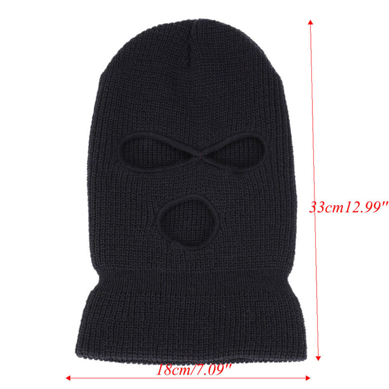 f019632a4f654 ... 3 Hole Ski Mask Balaclava Black Knit Hat Face Shield Beanie Cap Snow  Winter Warm