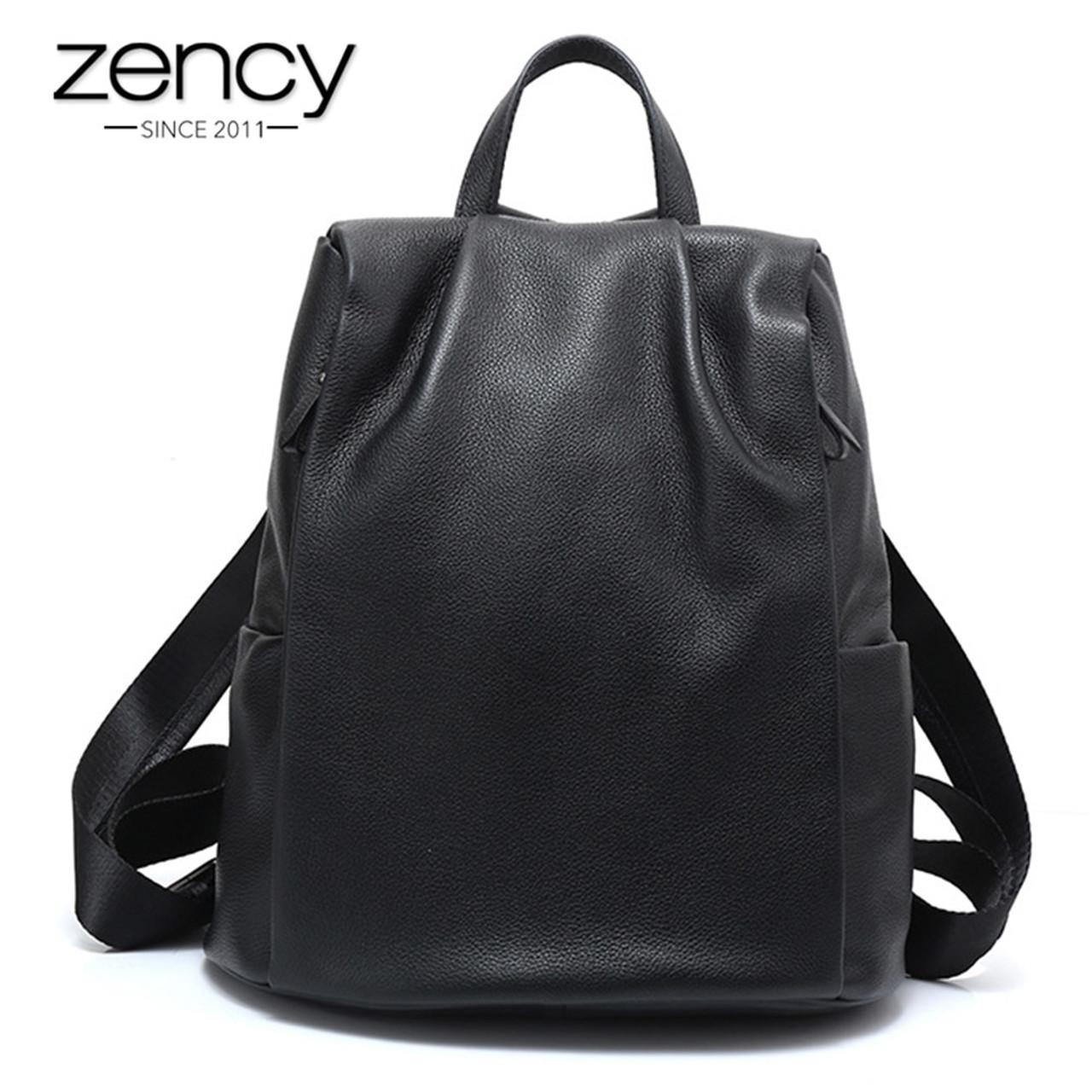 013bbf1bab Zency New Black Women Backpack 100% Genuine Leather Practical Travel Bag  Big Schoolbag For Girls Fashion Female Knapsack Laptop - OnshopDeals.Com