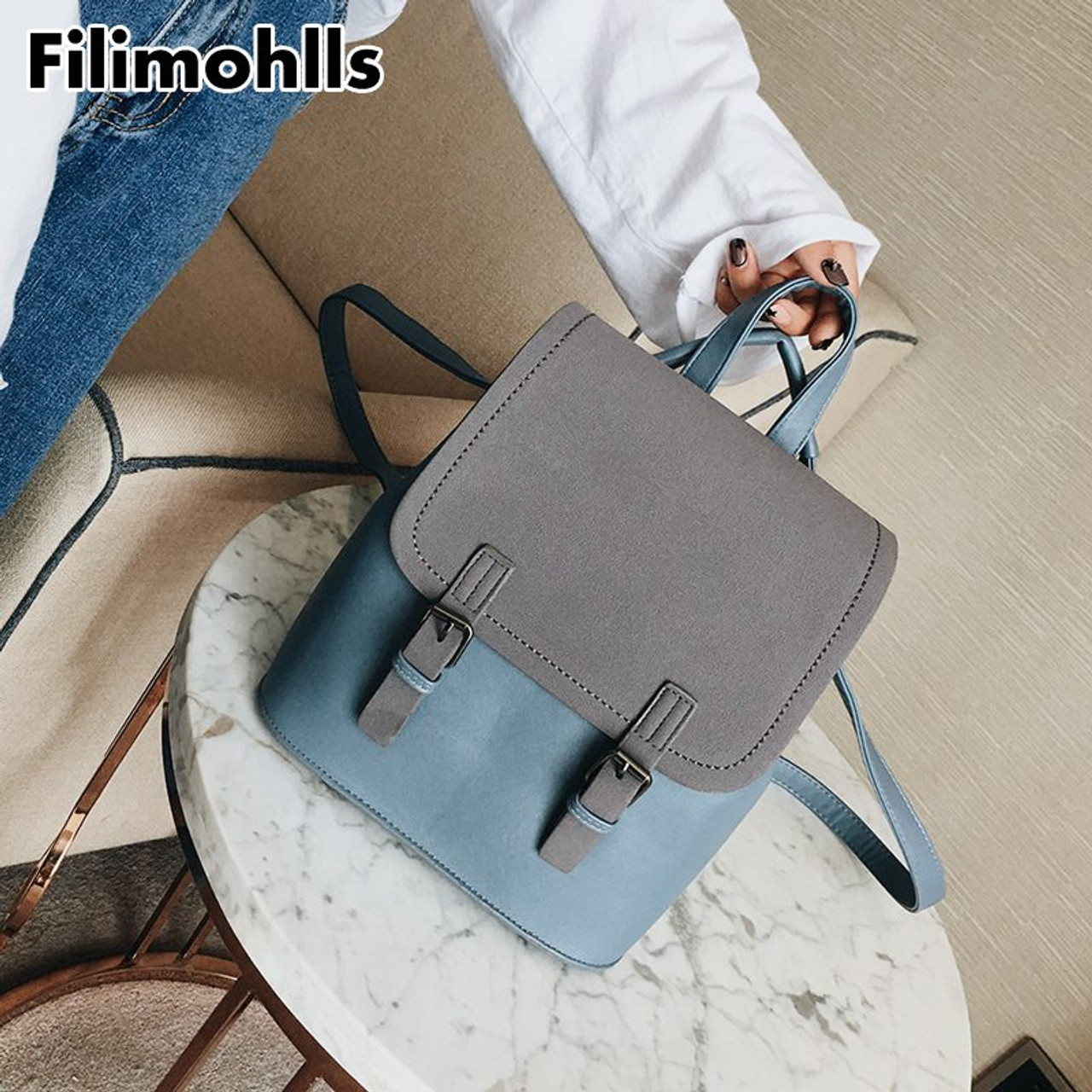 aacac6cdc8 ... Fashion Small School Bags for Girls Black Scrub PU Leather Female  Backpack Sac A Dos 2018 ...