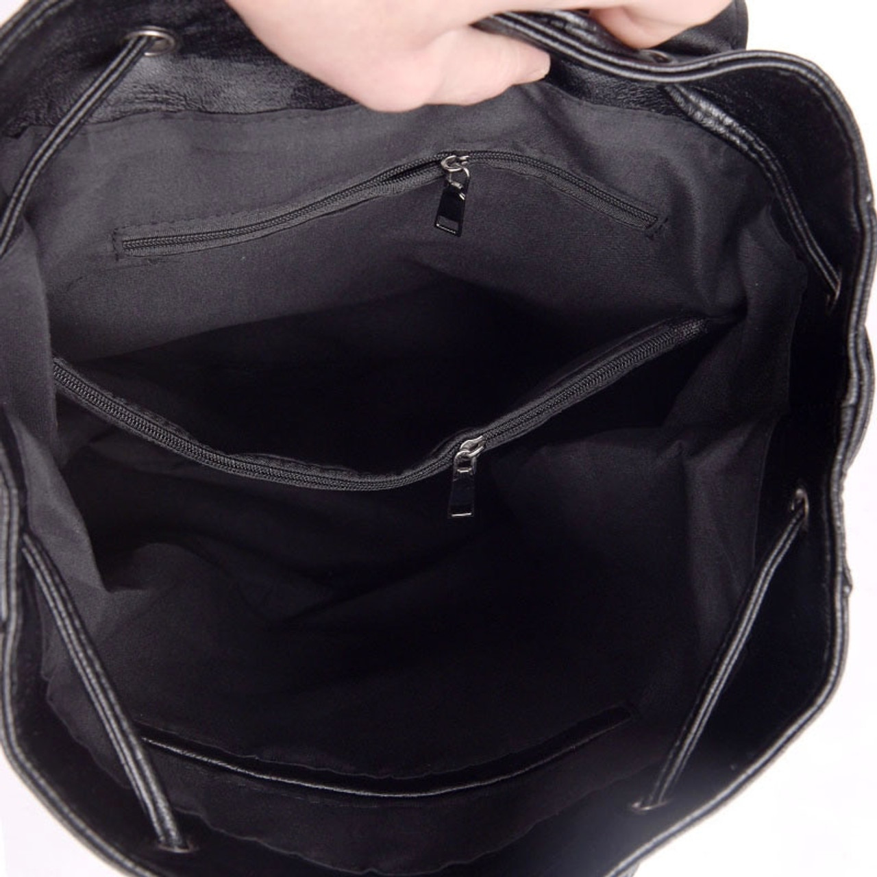e24bdaa02d9c ... LANYI 2018 New Double zipper Backpack High Quality Leather School Bags  For Teenager Girls Black Women ...