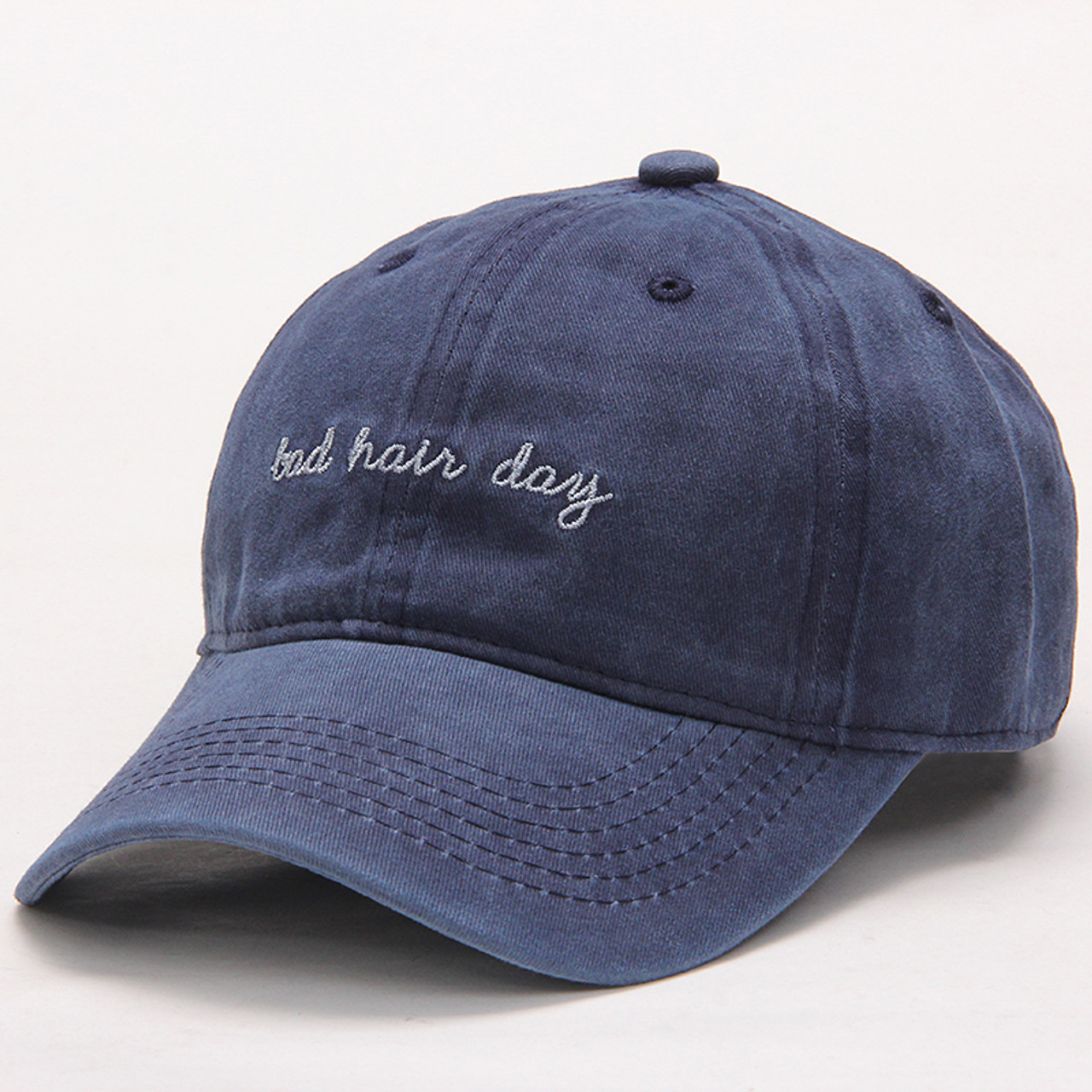 b294c4329e83 High Quality Washed Cotton Bad Hair Day Adjustable Solid Color Baseball Cap  Unisex Couple Cap Fashion ...