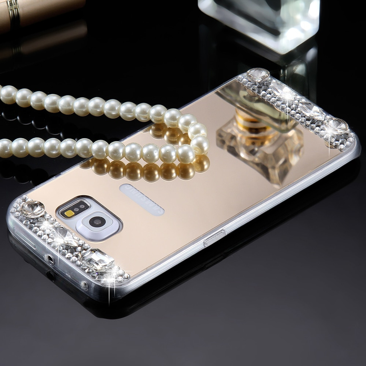 on sale f50a8 b9d22 KISSCASE Mirror Case For Samsung Galaxy S6 S7 Edge Case For Samsung Galaxy  S8 S8 Plus Diamond Soft Phone Cover For Girl Women