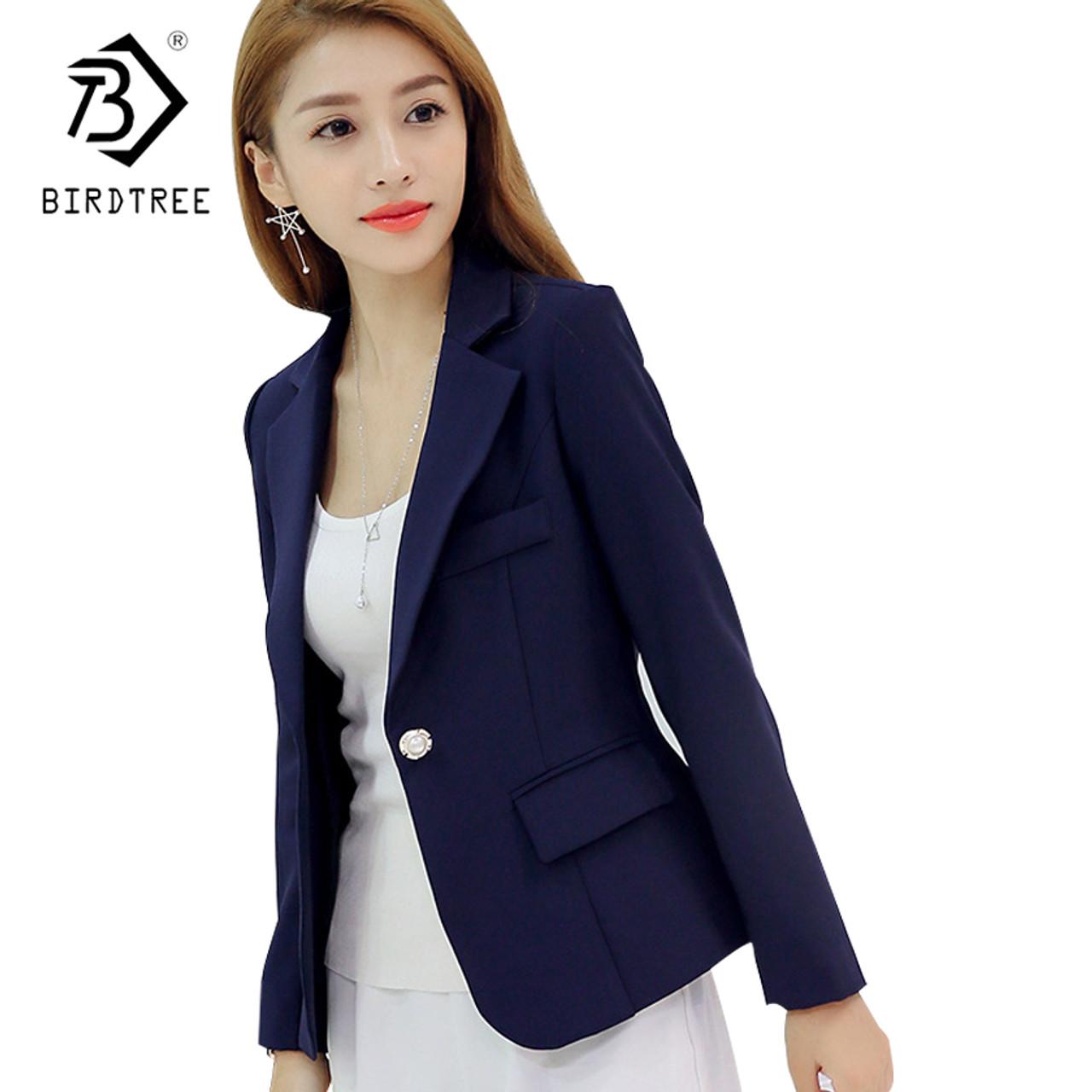 48f98b5031ca 2018 New Fashion Basic Jacket Blazer Women Navy Burgundy Suit Ladies Spring  One Button Brand Coats ...
