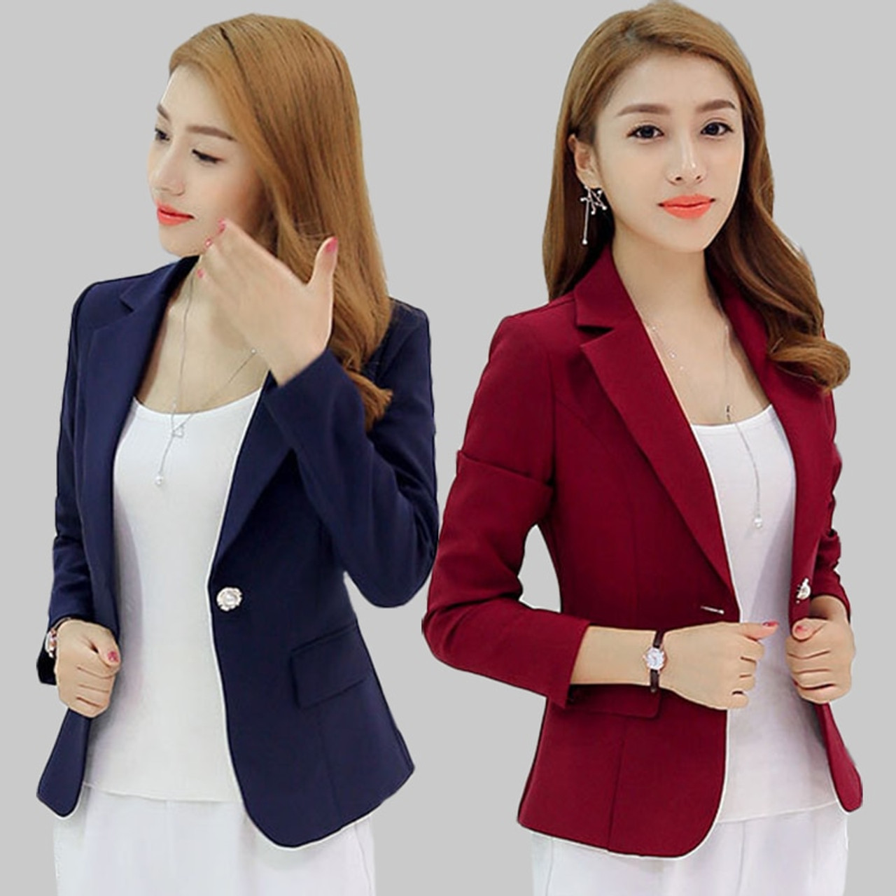 2018 New Fashion Basic Jacket Blazer Women Navy Burgundy Suit ...
