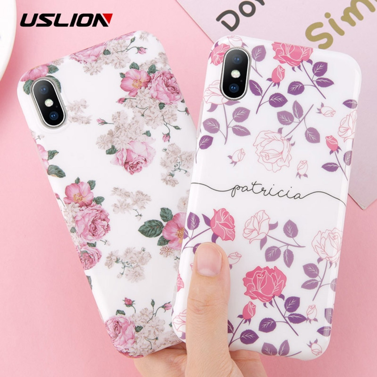 arrives 6858f 1cc82 USLION Flower Phone Case For iPhone 7 8 Plus Rose Floral Love Heart Soft  TPU Back Cover For iPhone X 7 6 6S Plus Silicone Cases