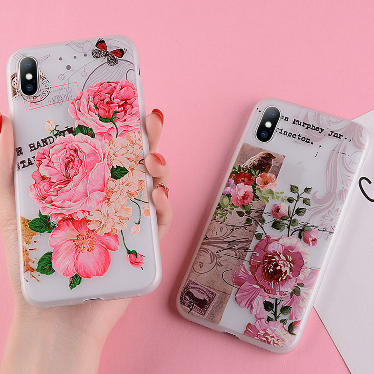 wholesale dealer b40b7 16989 USLION Floral Silicon Case For iPhone XS MAX XR XS X 3D Relief Flower Phone  Cases For iPhone 8 7 6 6s Plus 5 5S SE Soft Cover