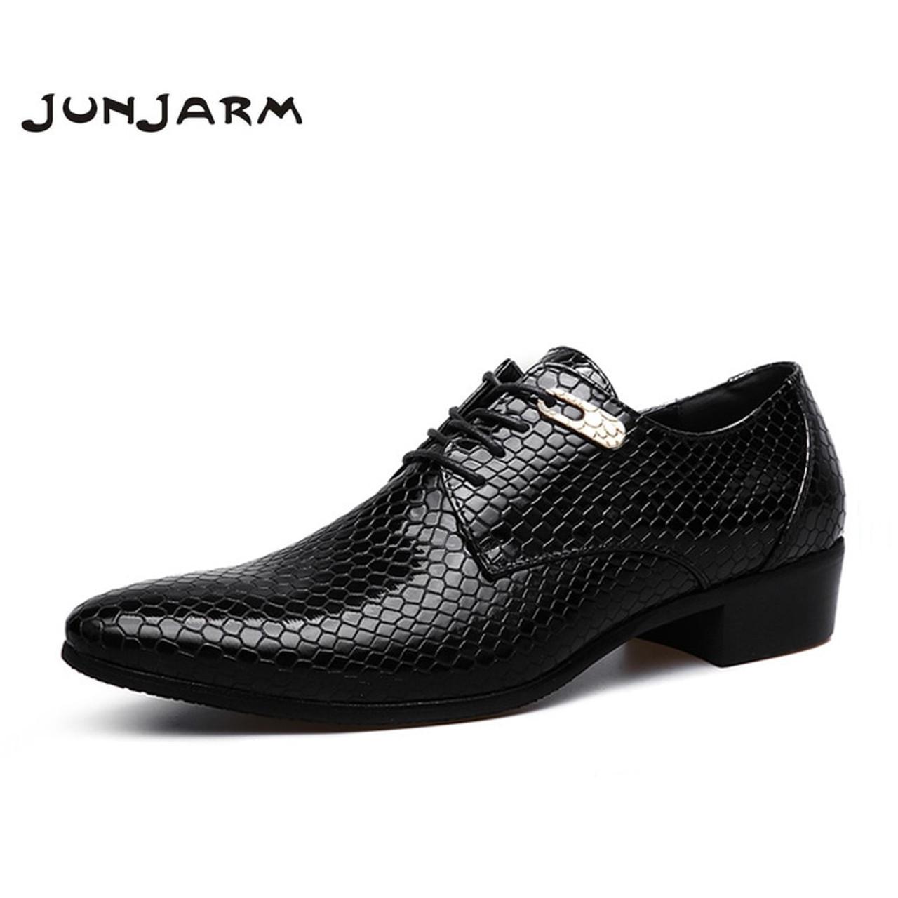 548e8d8d79 JUNJARM 2018 Brand Formal Men Dress Shoes Microfiber Oxfords Men Business  Shoes Classic Office Wedding Mens Flats Big Size 38-47