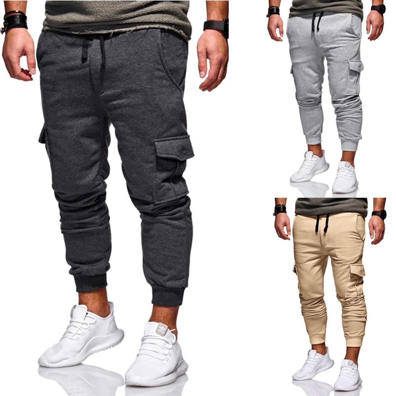 8c0fa97a03c ... New 2019 Men Cargo Pants Fashion Tactical Joggers Fitness Workout  Pockets Sweatpants Plus Size 4XL Casual ...