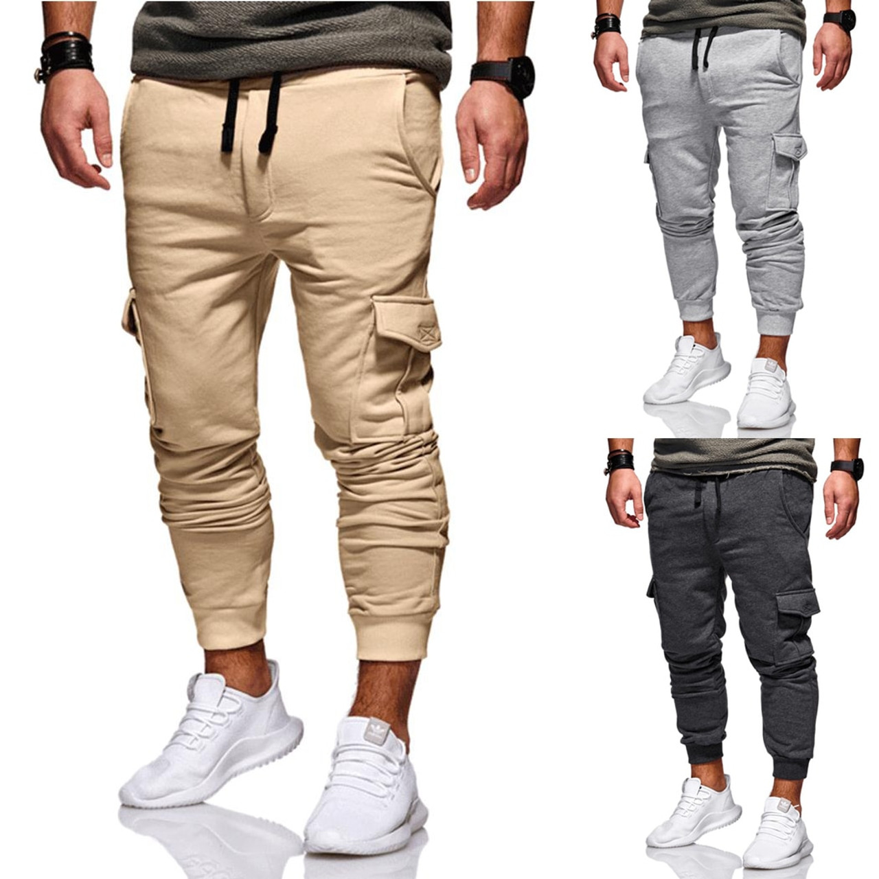 479ff85fdbb64d ... New 2019 Men Cargo Pants Fashion Tactical Joggers Fitness Workout  Pockets Sweatpants Plus Size 4XL Casual ...