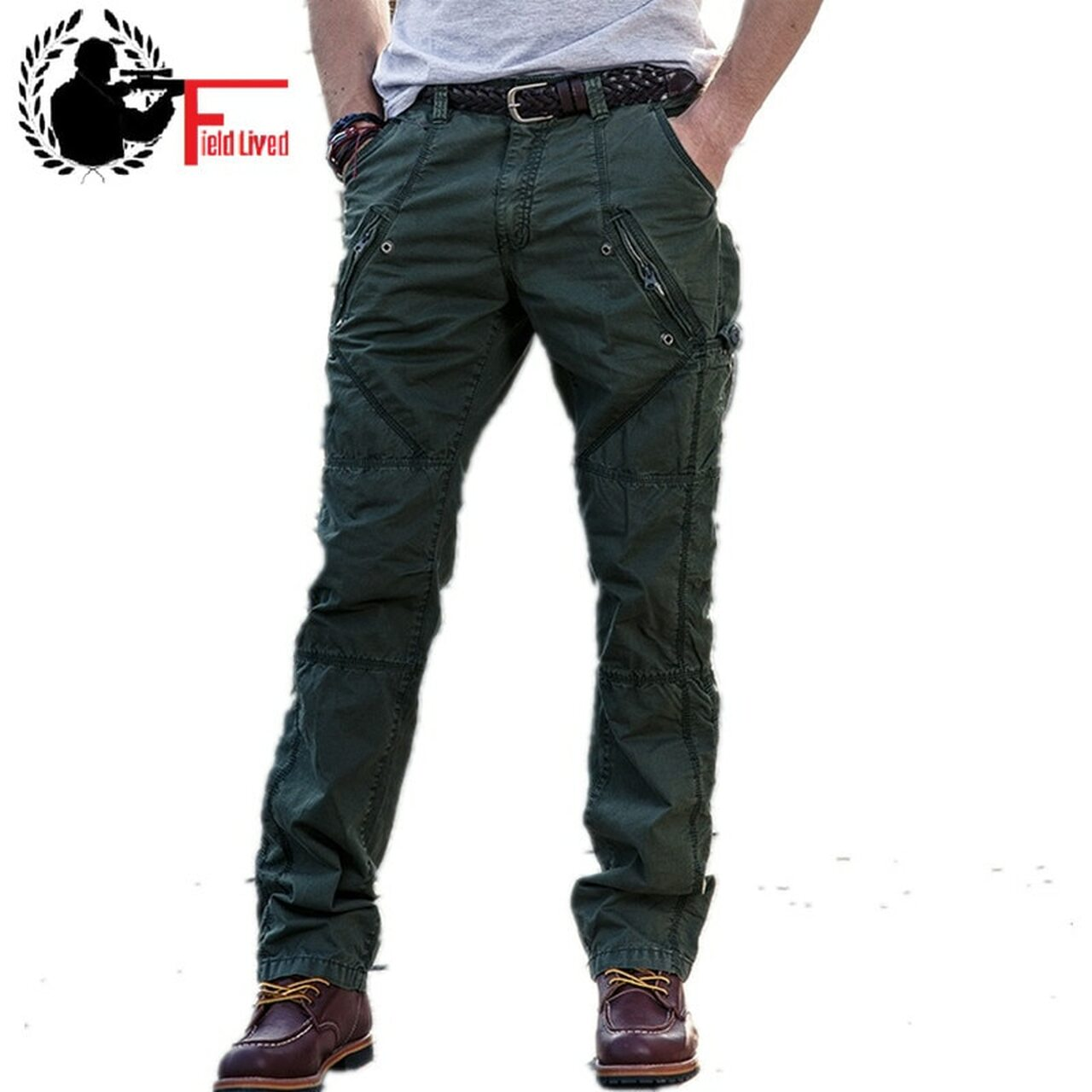 dbf8ee56b2 Multi-Pocket Men's Military Cargo Pants Loose Style Men Pants Tactical  Casual Long Trousers Male ...