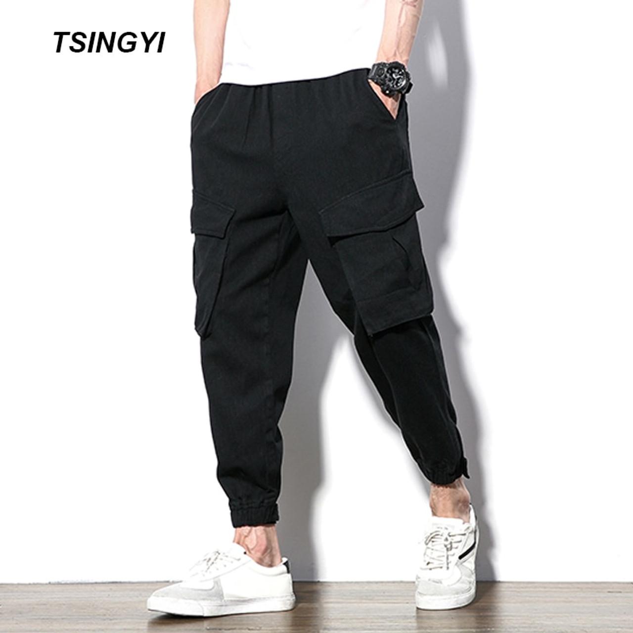 51387232699 Tsingyi Autumn Plus size Loose Man Joggers Casual Pants Black Camo Multi  Pockets Hip Hop Cargo ...