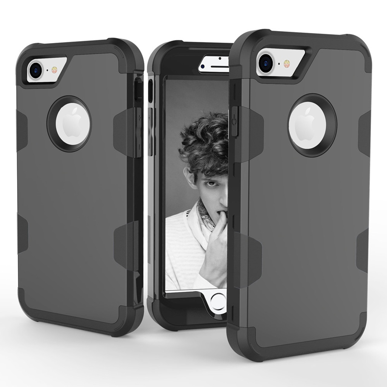 online store 9bd60 4570d For Apple iPhone 7 8 Case Robot Shockproof Protect Cover Hybrid Hard Rubber  Impact Armor Phone Case For iPhone7 6 6S Plus Coque