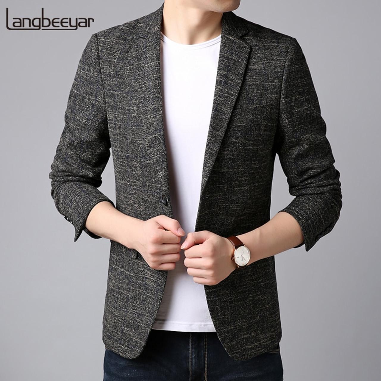 2018 New Fashion Brand Blazer Jacket Men Korean Slim Fit Suits Coat Pattern Pattern Party Dress Trending Casual Men Clothes Onshopdeals Com