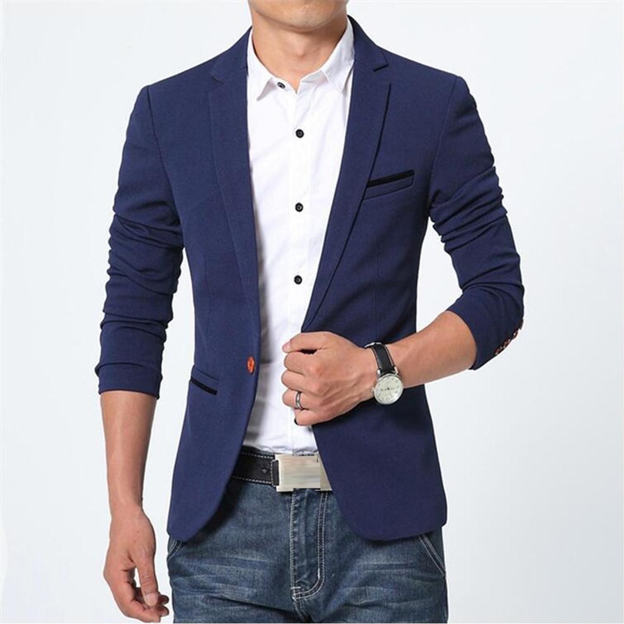 INDIVIDUAL Luxury Fashion Mens Blazer Spring Blue