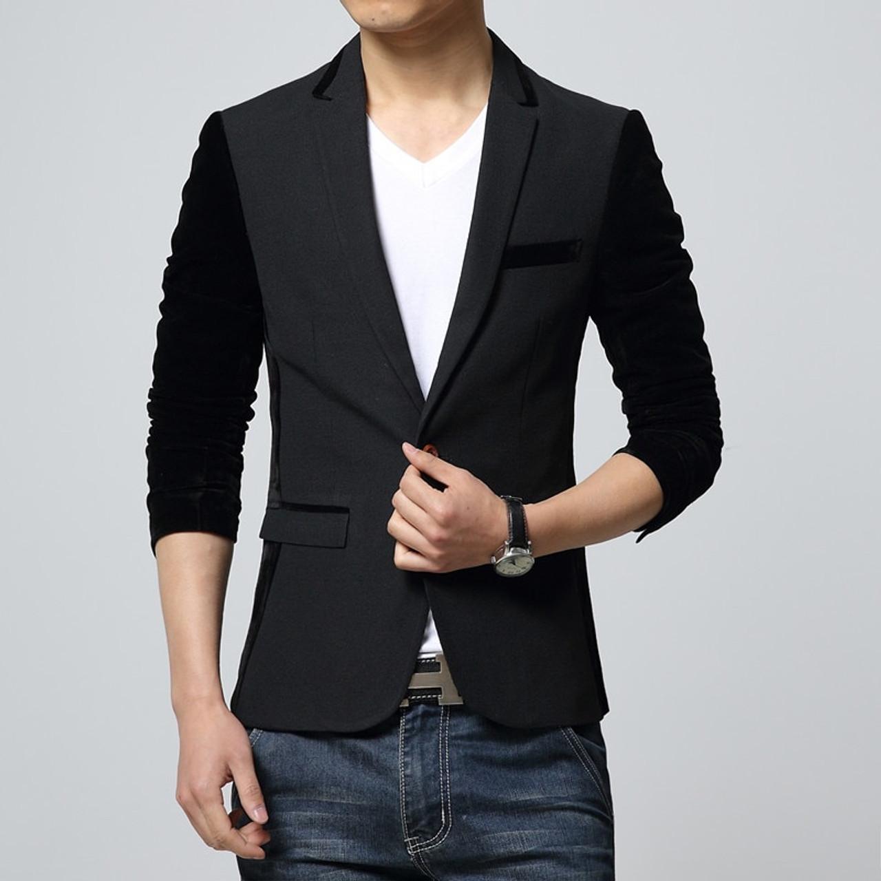 6f9410afc76 ... 2018 New Korean Fashion Mens Slim fit Blazer coat suit jacket Male  casual unique blaser masculino ...
