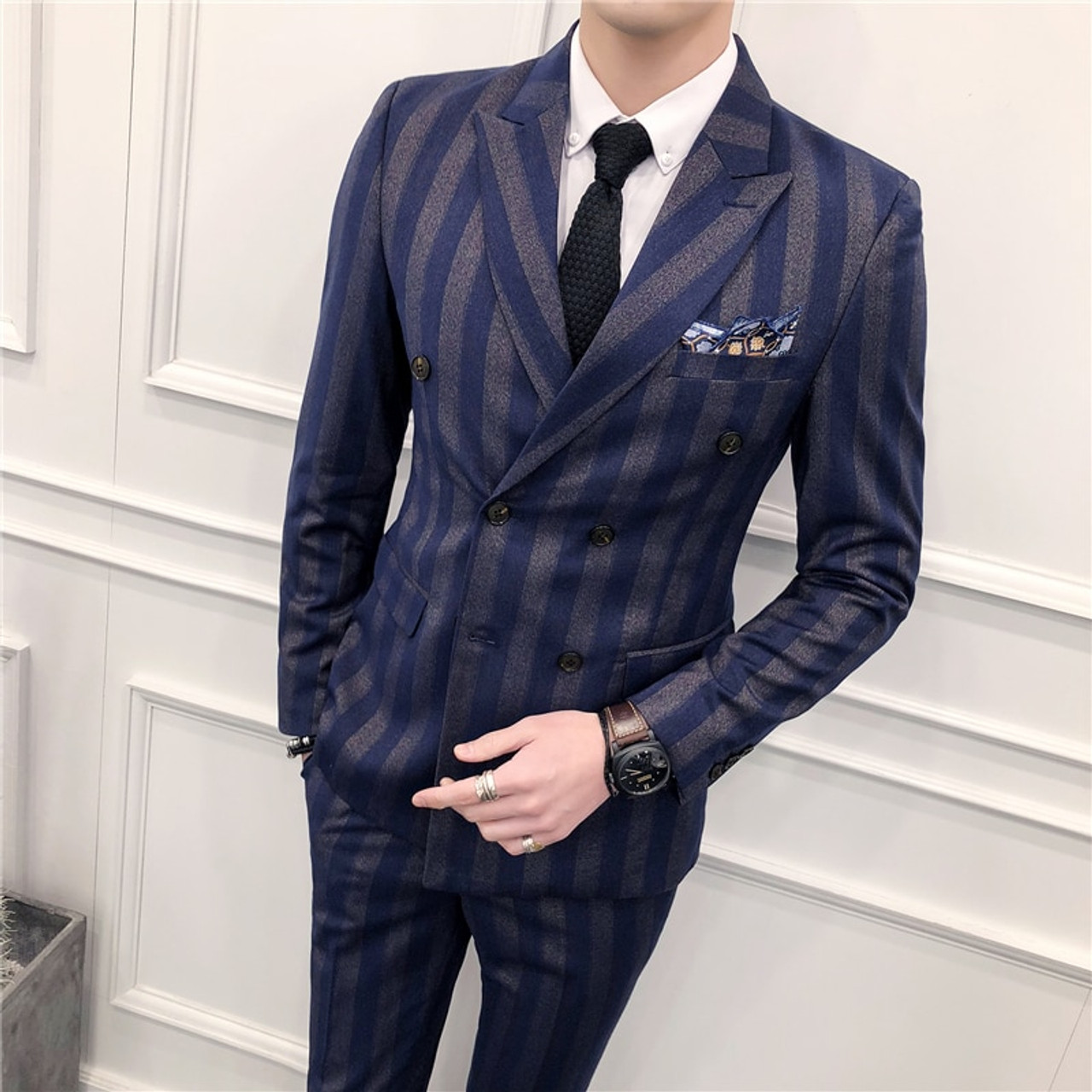4fe3ec5b6846 Slim Fit Double Breasted Suit 2018 Latest Coat Pant Designs Skinny Men Prom  Stripe Suits Wedding ...