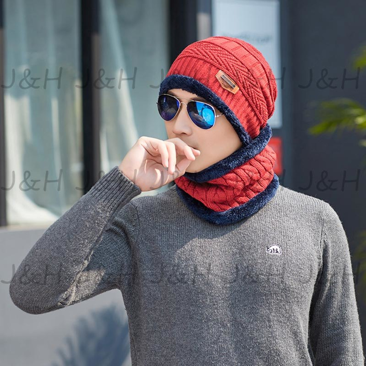 c4f8e653 ... 2018 Winter Warm Beanie Knitted Hat For Man Knitting Cap Boys Thicken  Hedging Cap Balaclava Hats ...