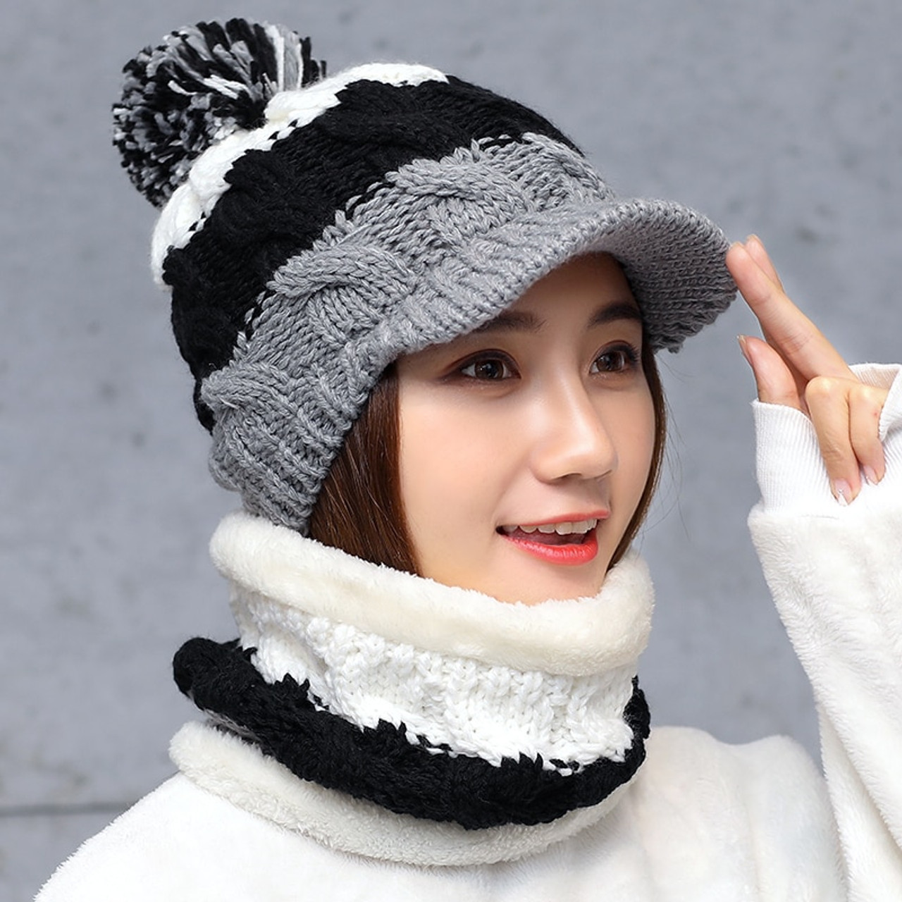 a5fb908a896e7 Balaclava Women s Knitted Hat Scarf Caps Neck Warmer Winter Hats For Men  Women Skullies Beanies Warm ...