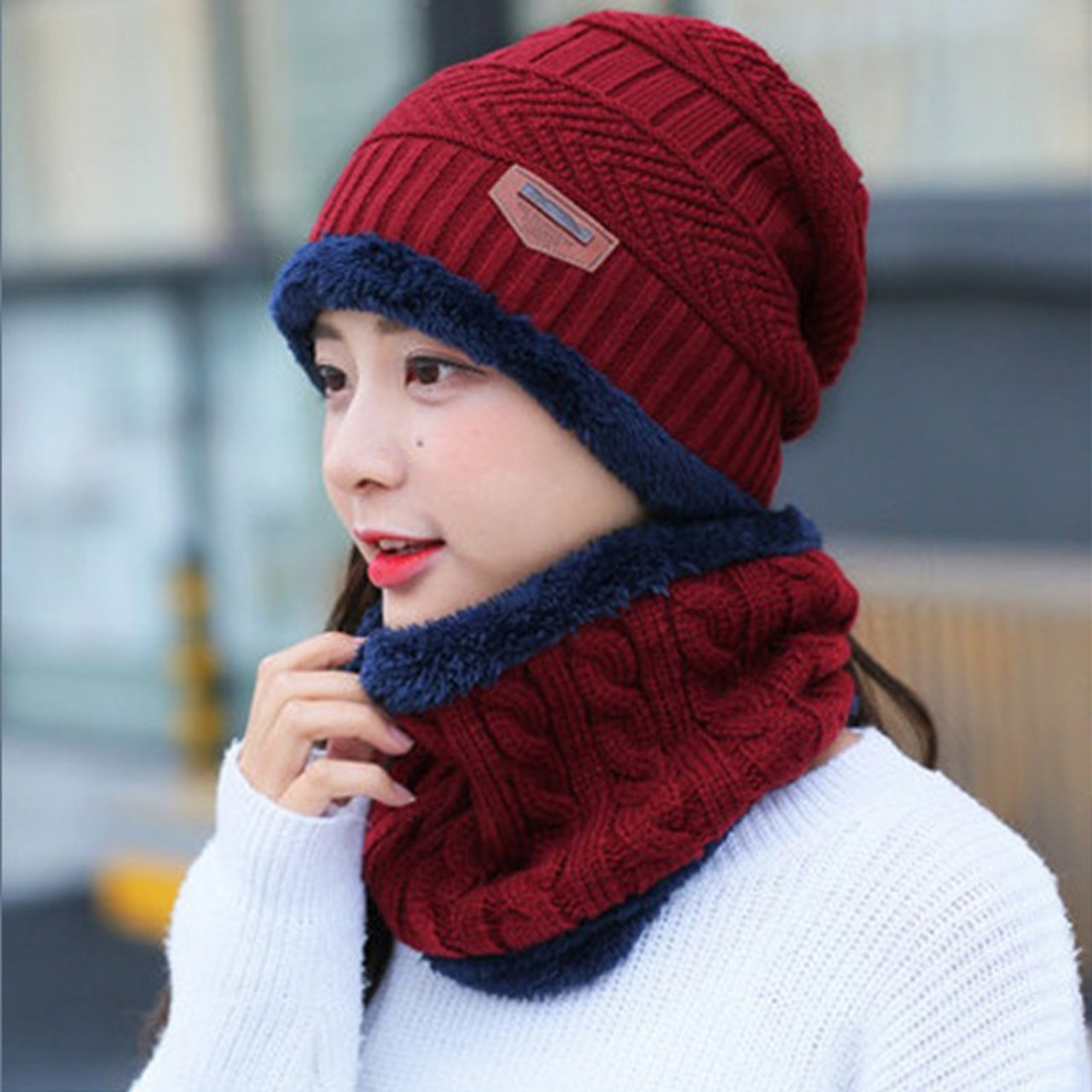 ee36d7dc00113 ... 2018 parent child 2pcs super warm Winter balaclava wool Knitted Hat and  scarf Hats Caps boys ...