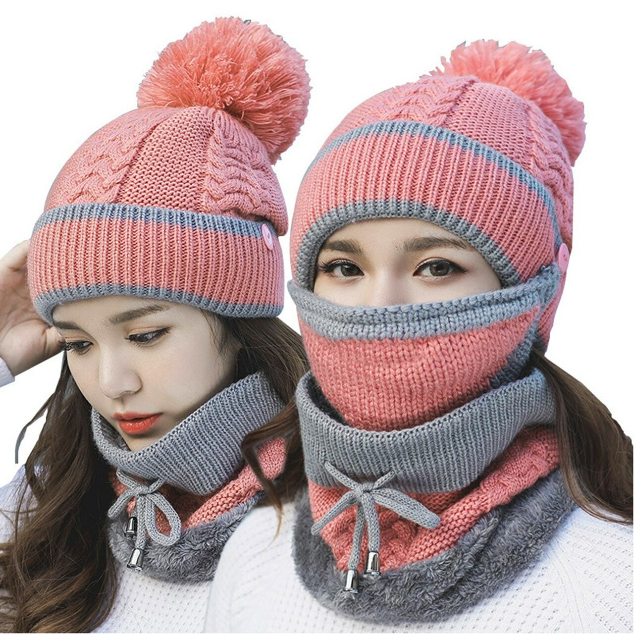 084189b7a42e7 ... 2018 Fashion Women Winter Hat Scarf Mask Collar 3Pcs Set Thick Warm  Wool Knitted Scarf Face ...