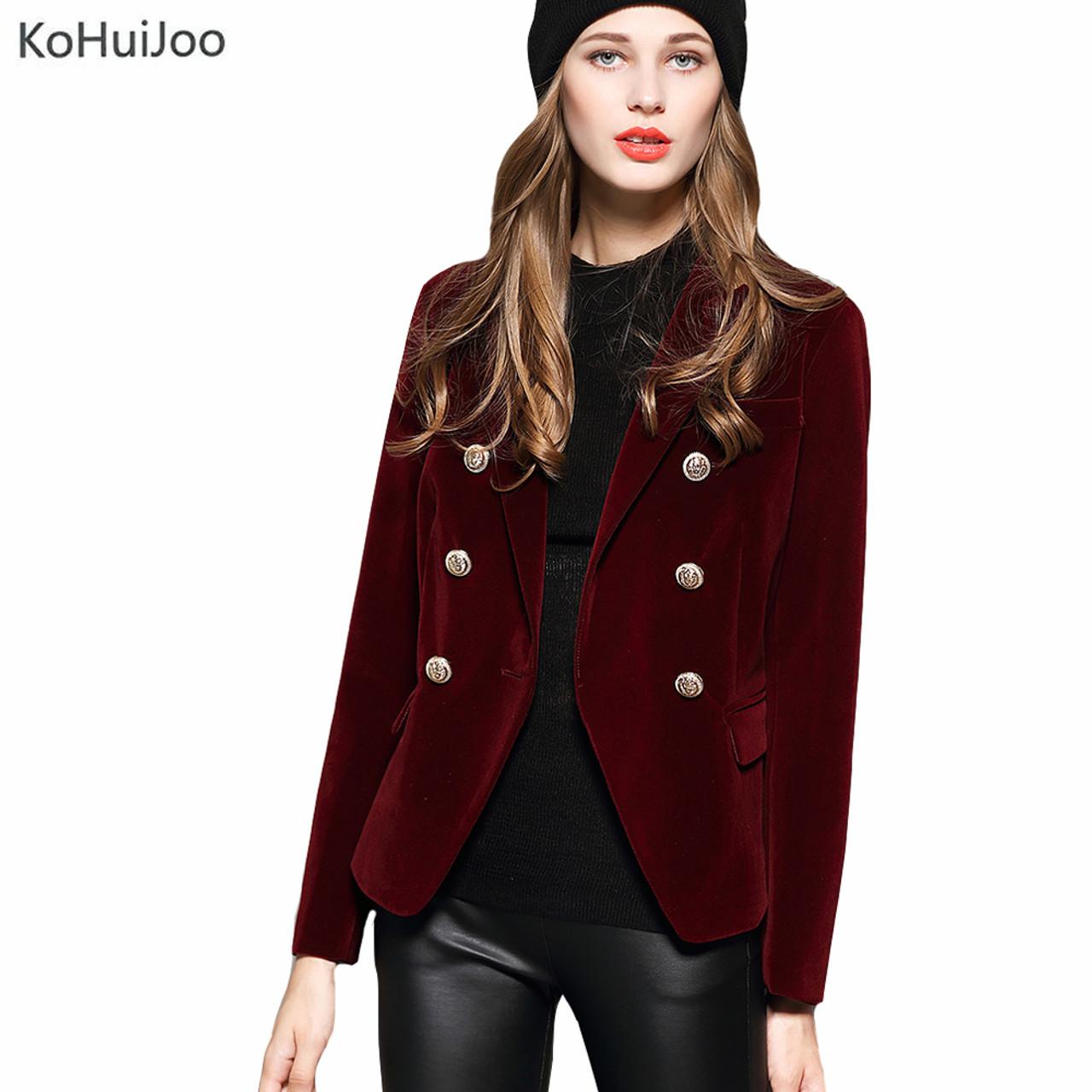 23bf56865a69 KoHuiJoo 2019 Autumn Winter Women's Blazers Long Sleeve Golden Button Slim  Lady Velvet Jackets and Coats Black Wine Red M-2XL - OnshopDeals.Com