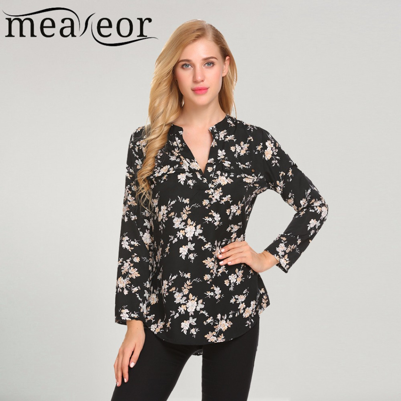 115bc76b Meaneor Vintage Blouses Women Roll-Up Cuffed Sleeve Shirts Floral Print  Asymmetrical Blouse Casual V ...