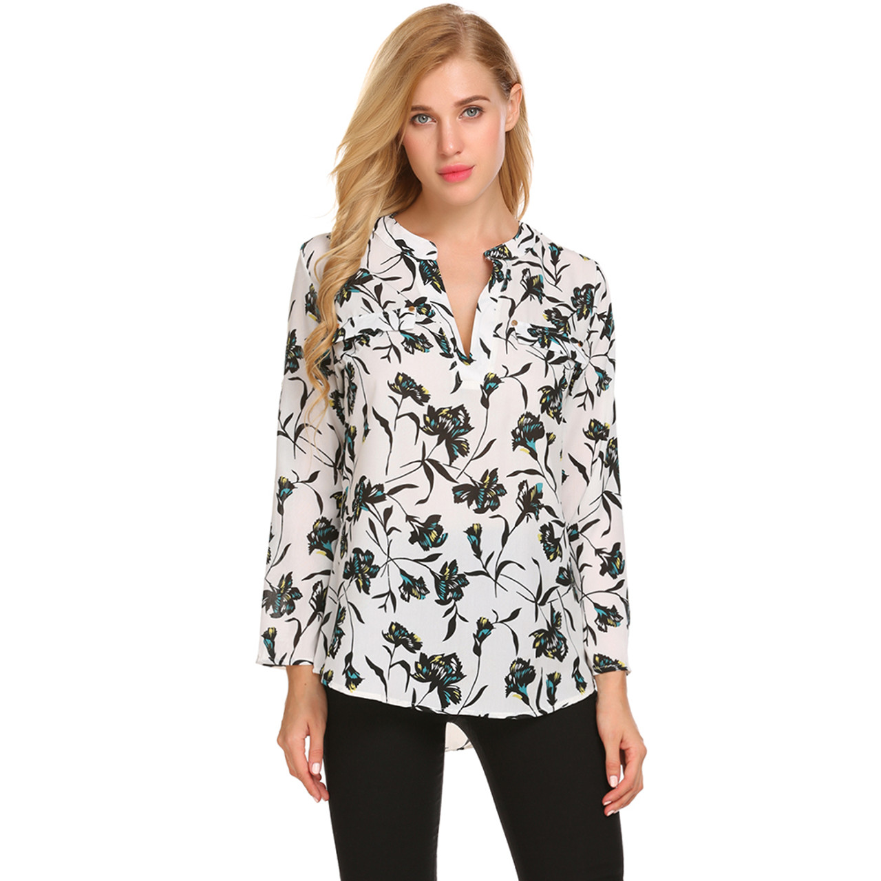 c0d20e42 ... Meaneor Vintage Blouses Women Roll-Up Cuffed Sleeve Shirts Floral Print  Asymmetrical Blouse Casual V ...