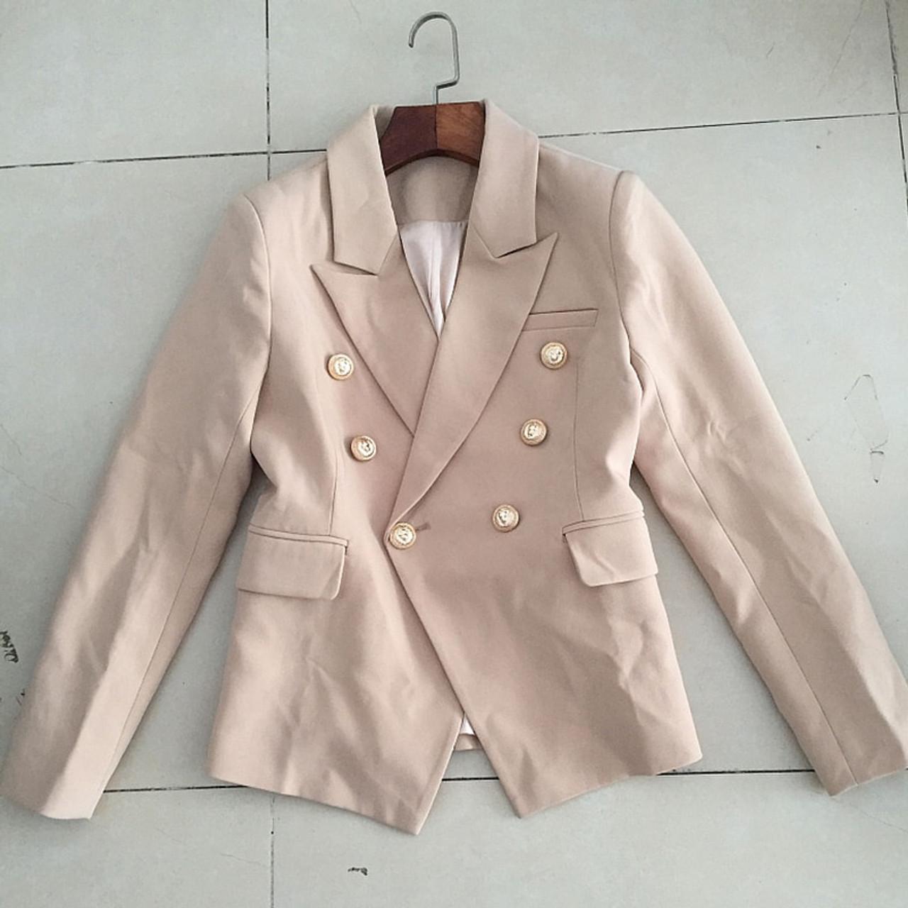 NEW Women Long Sleeve Double Breasted Metal Buttons Blazer Jacket outwear