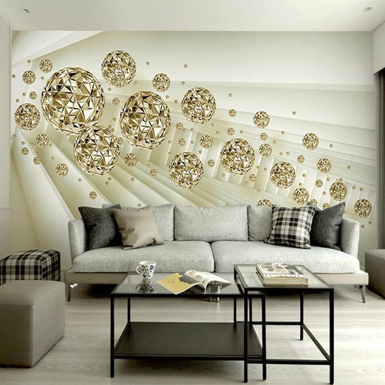 Custom Mural Wallpaper 3D Stereo Abstract Space Golden Ball Modern Fashion Interior Background Wall Decorative Painting