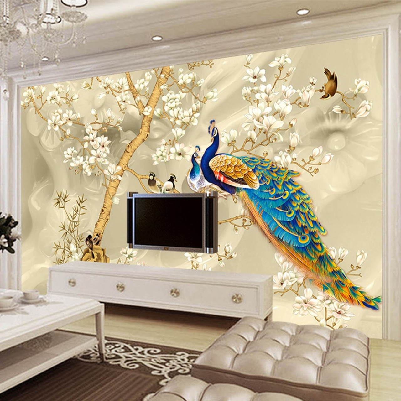 Custom Mural Wallpaper 3d Stereo Magnolia Flowers Peacock Wall
