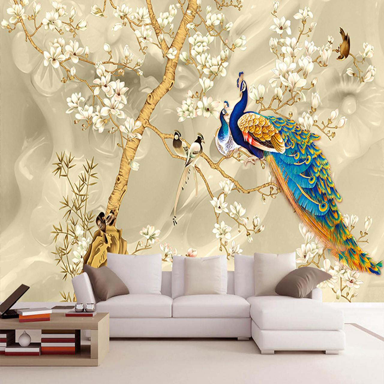 Custom Mural Wallpaper 3D Stereo Magnolia Flowers Peacock ...