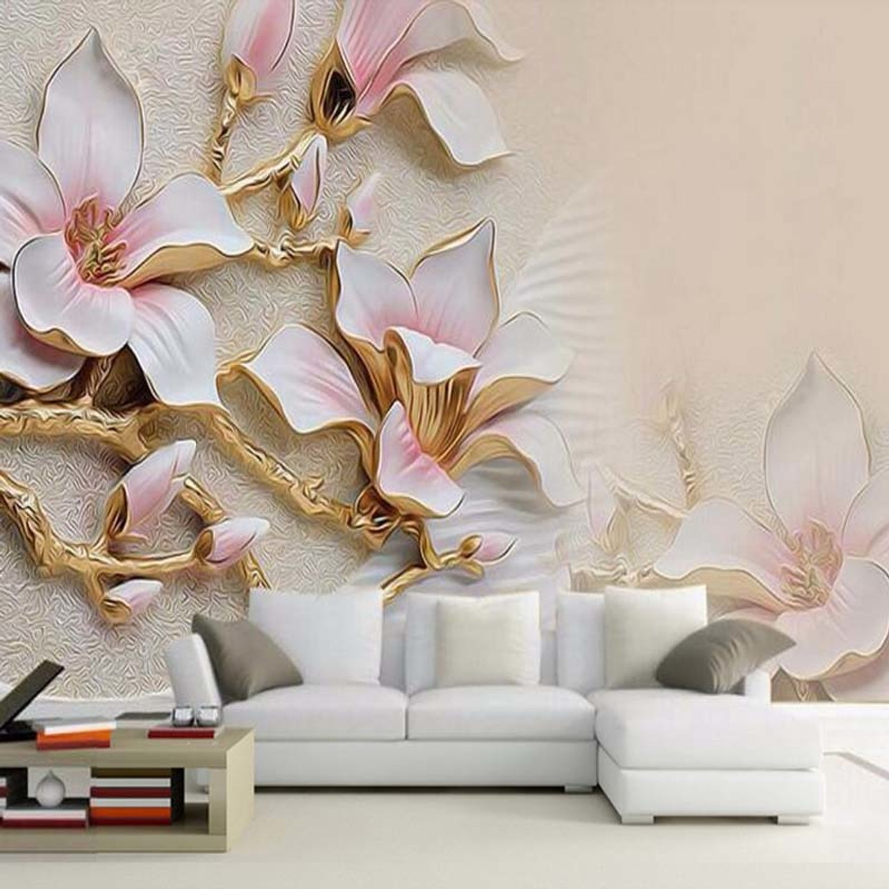Custom 3d Mural Wallpaper Stereo Relief Magnolia Flower Wall Art