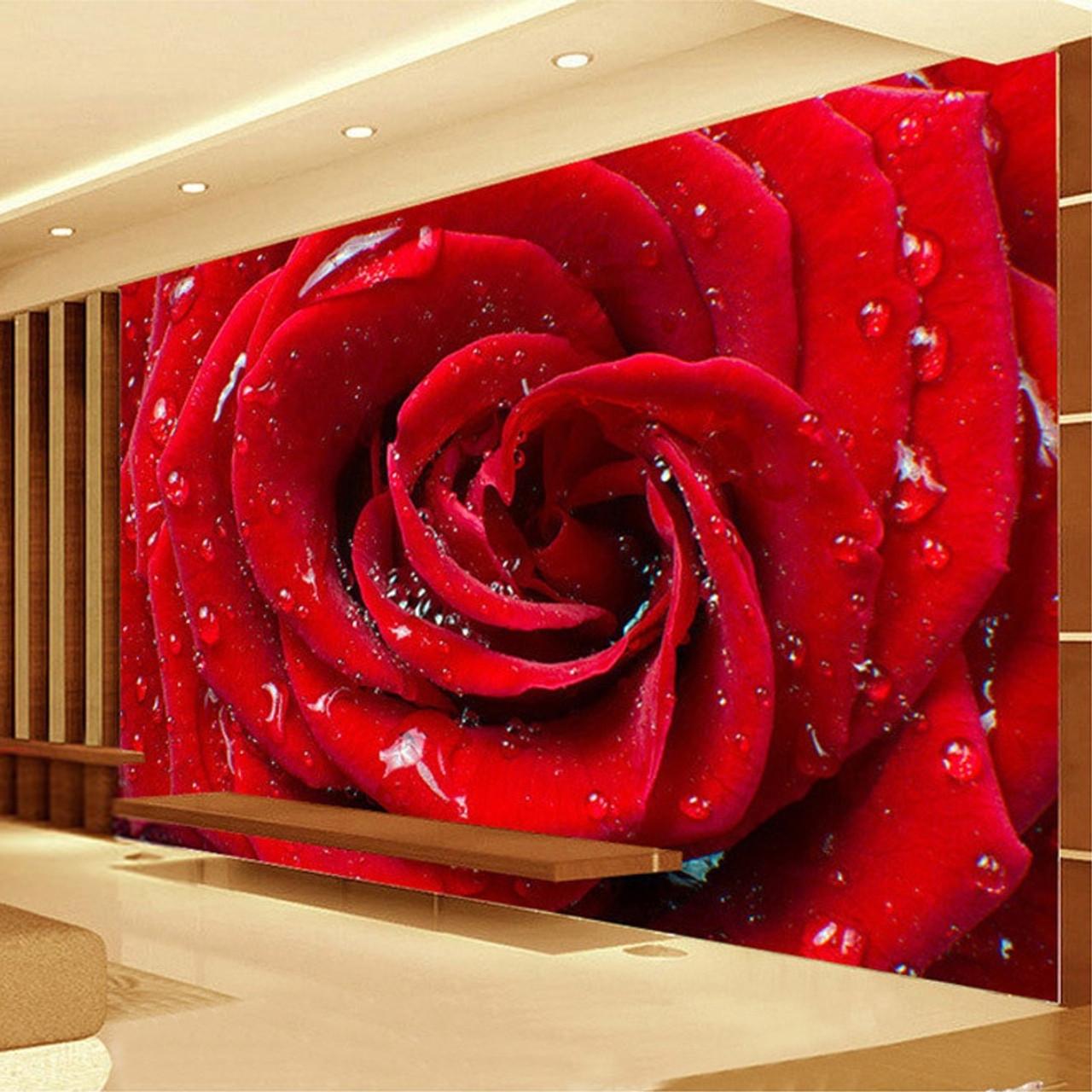 Large Custom Mural 3d Stereo Roses Flower Wallpaper Bedroom Living Room Tv Backdrop Home Decor Marriage Room Non Woven Wallpaper