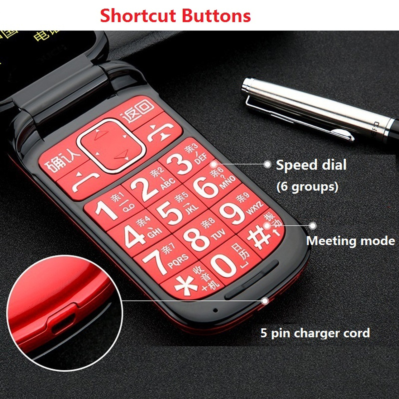 unlocked flip one key dual torch one key fm bluetooth sos speed dial