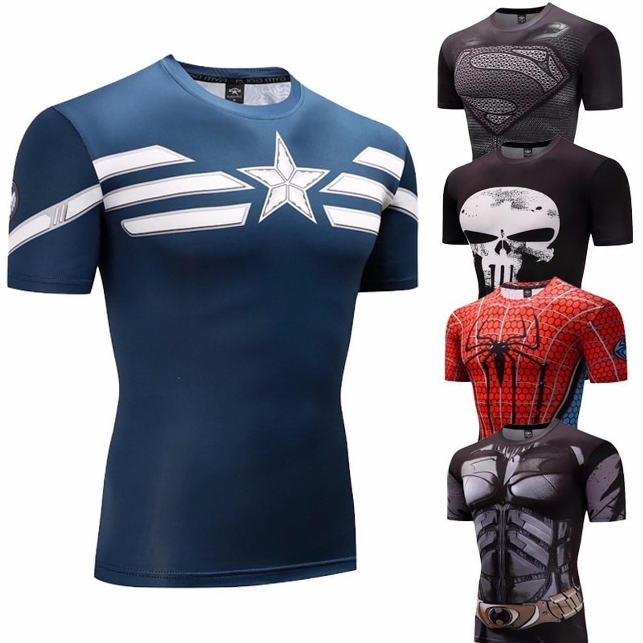 f38a0f5ae captain america Fitness Bodybuilding Compression Shirt Men Anime Rashgarda  rashguard MMA Crossfit 3D Superman Punisher T Shirt - OnshopDeals.Com