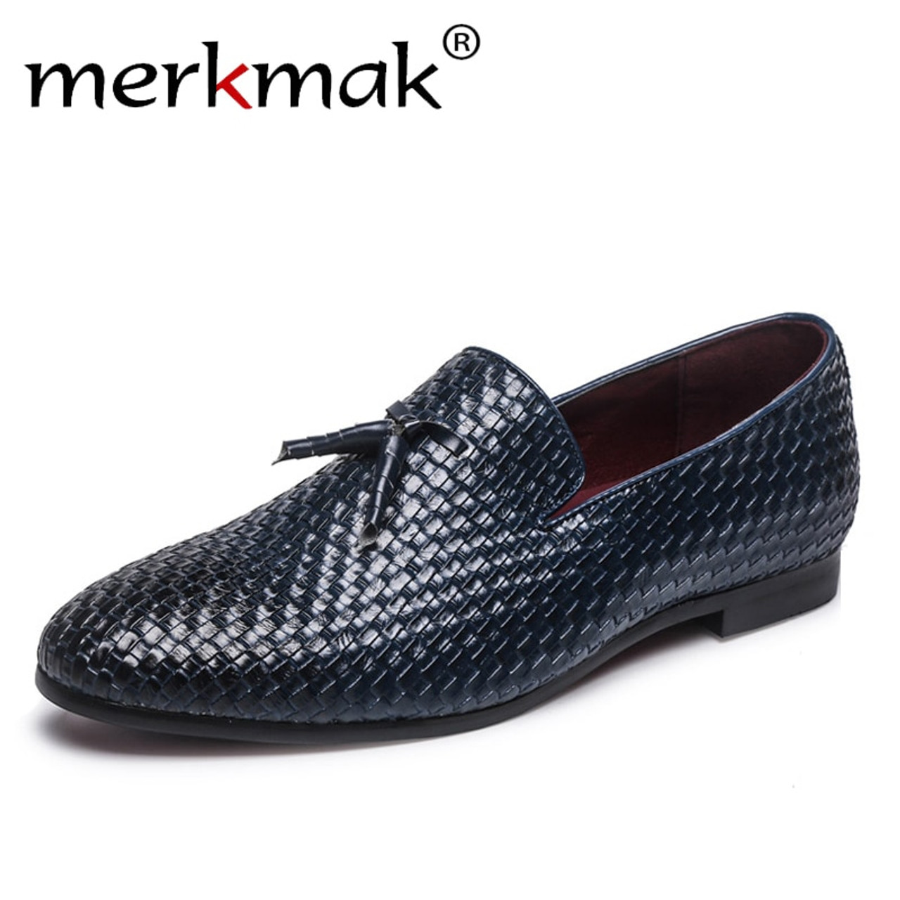 cceab2c7c67 Merkmak Brand Men Shoes 2018 New Breathable Comfortable Men Loafers Luxury  Tassel Weave Men s Flats Men ...
