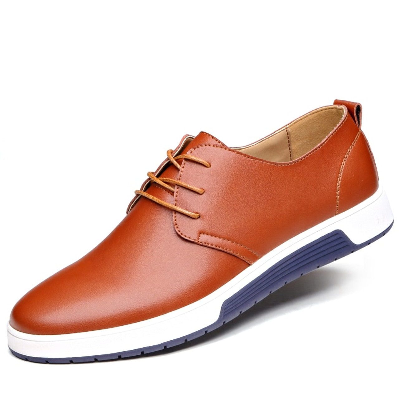 Misalwa New 2019 Men Casual Shoes Leather Luxury Brand Comfortable Flat  Shoes Men Drop Shipping