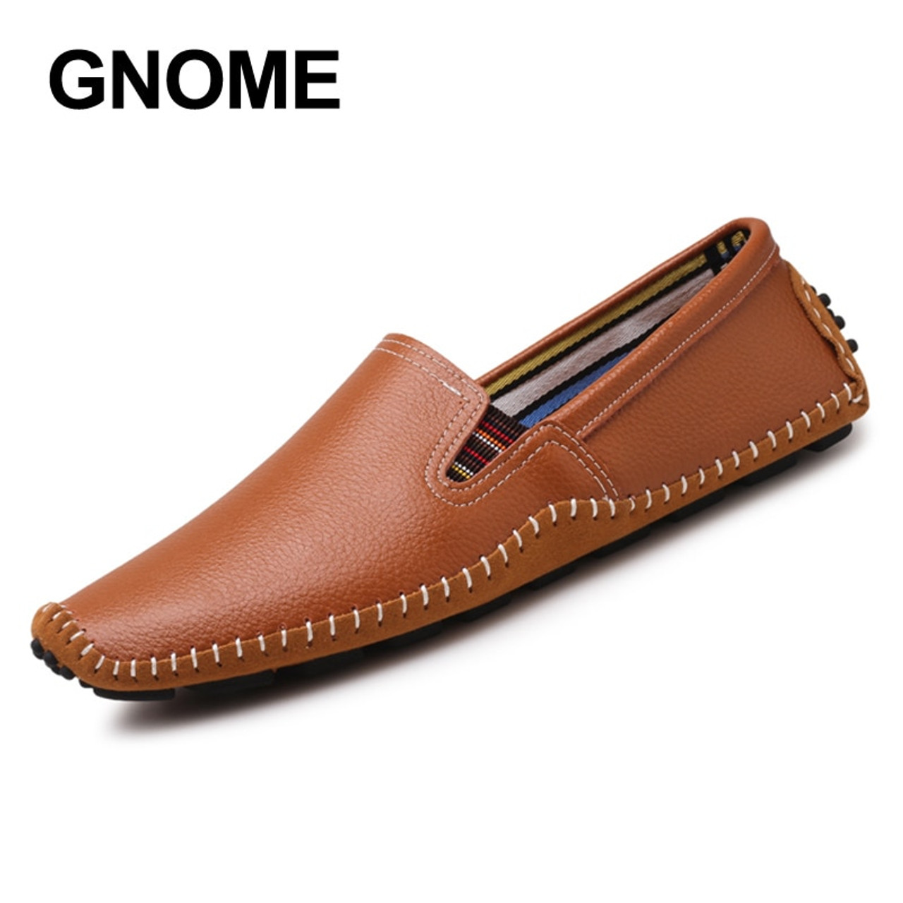 5873f3b38b3 ... GNOME 38-47 Men Loafers Quality Genuine Leather Comfortable Brand Men  Flats Driving Flats Shoes ...