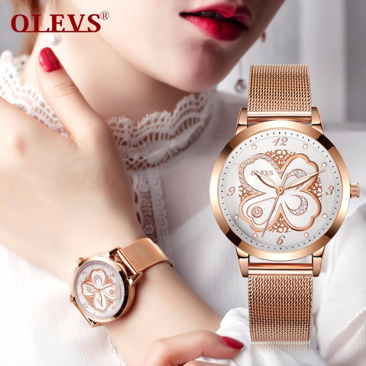 Olevs Rose Gold Watch Women Japan Quartz Watches Ladies Top Brand