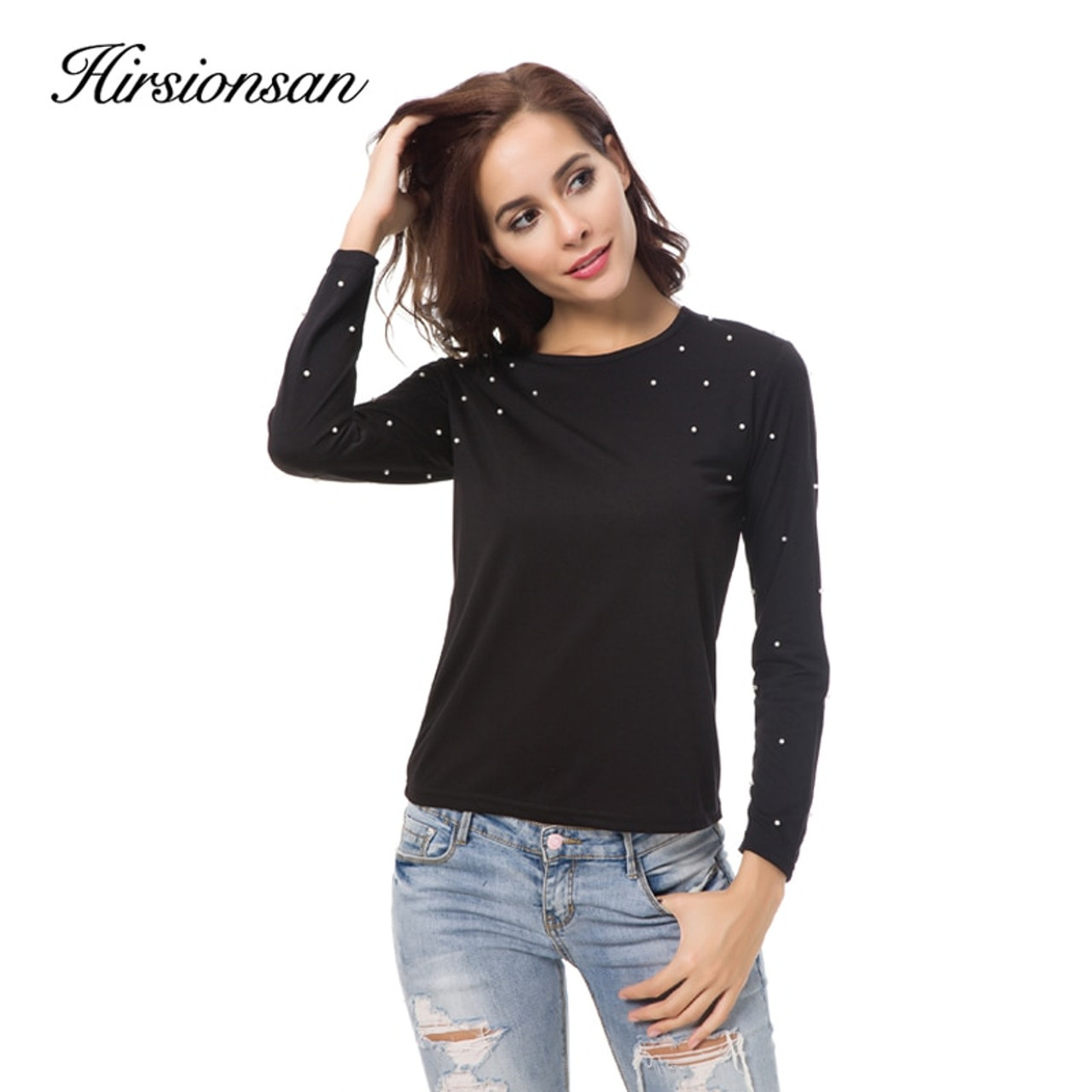 bf2b13894655f ... Hirsionsna Pearl Beading Summer T Shirt Women Long Sleeve Brand Solid  Color Black Tees Femme Casual ...