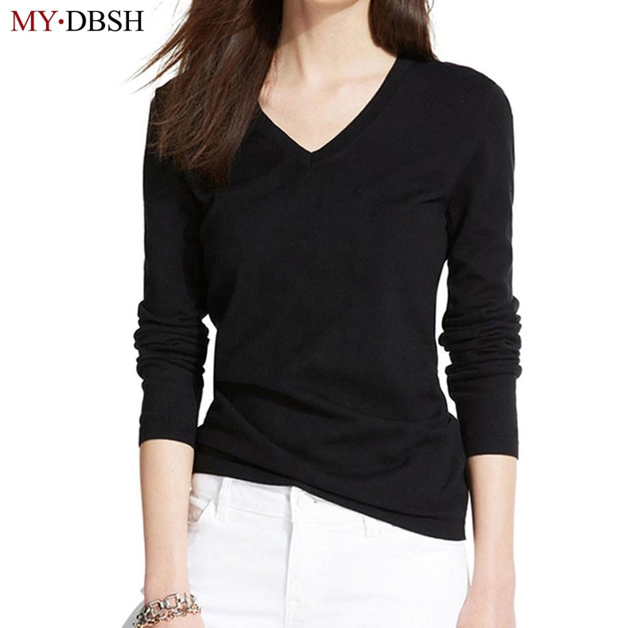 b89df8910e5c ... Fashion Women's T-shirts Long Sleeve Undershirt V Neck Solid color  tshirt Woman Casual Tees ...