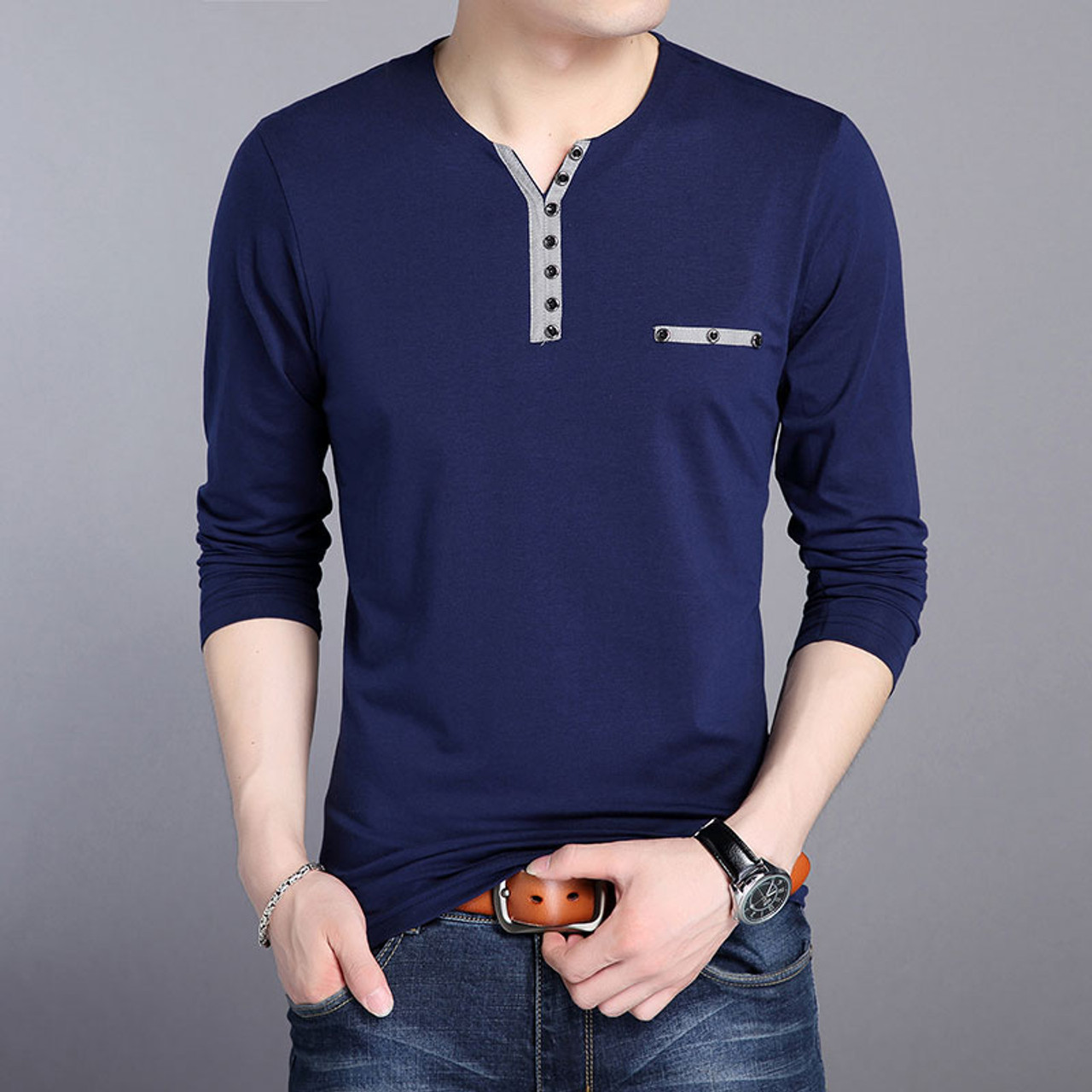 200d417f4fc ... 2018 New Fashion Brand V Neck Tops Solid Color T Shirt Men Button  Spring Autumn Tee ...