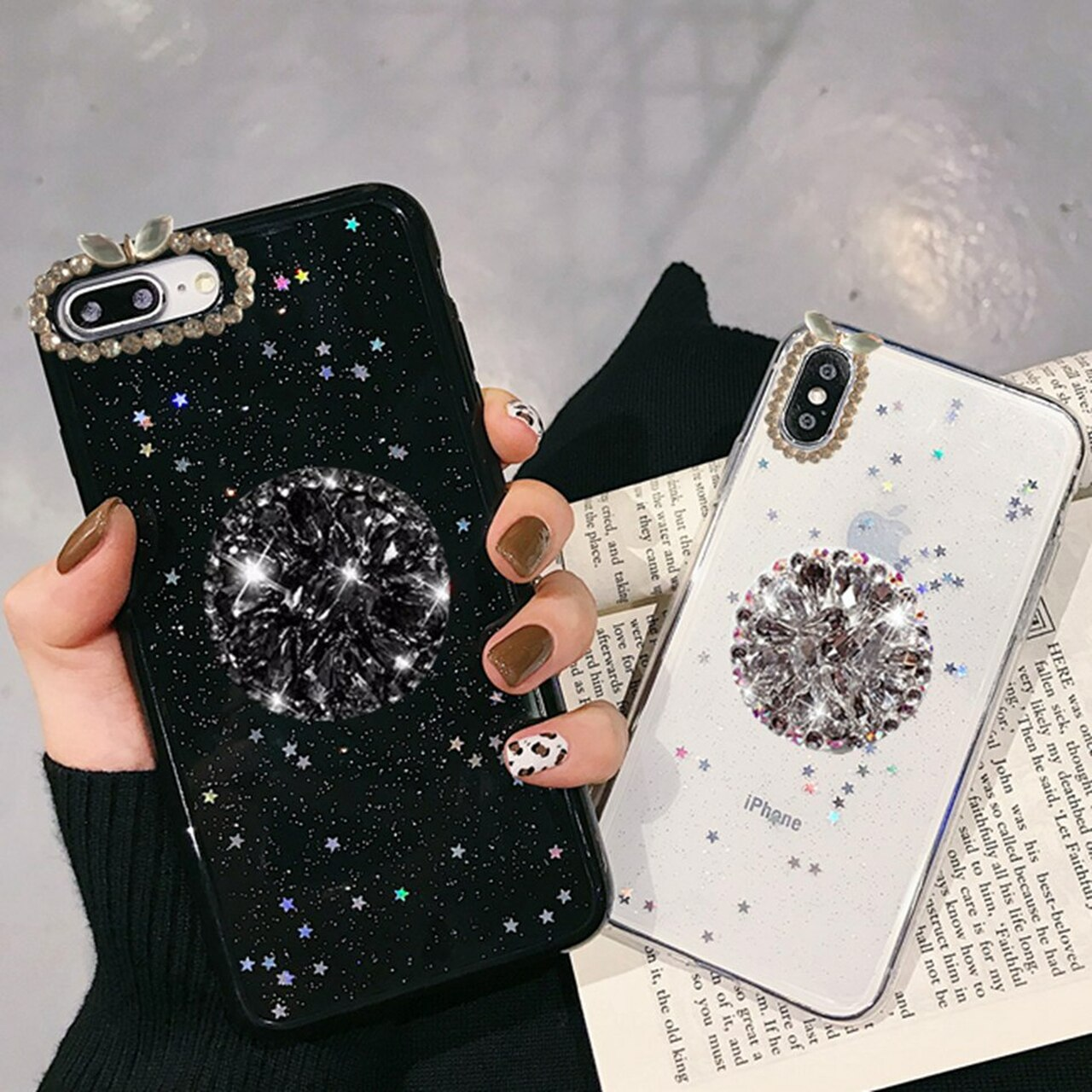 size 40 0aa34 16df0 For iPhone 7 8 Case Luxury Glitter Diamond Cover For iPhone X XS Max XR 6 7  8 Plus Rhinestone 3D Grip Stand Holder Phone Cases